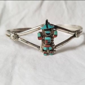 Navajo Kachina Dancer Inlay Sterling Cuff Bracelet, used for sale